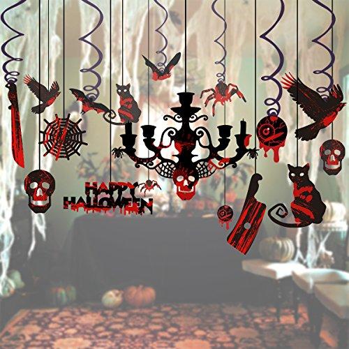 Unomor Halloween Dekoration Hängende Ausgeschnittene Wirbel für Geisterhäuser - 17 Stück