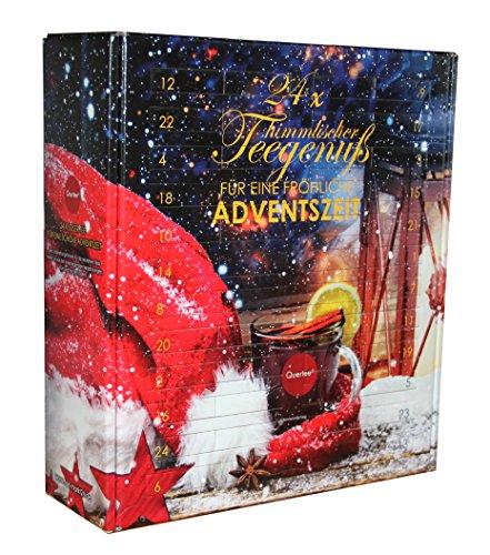 Quertee® - Tee Adventskalender mit 24 Türchen - 24 x loser Tee für einen Kannenaufguß - 24 x 15 g Tee - 360 g Tee insgesamt